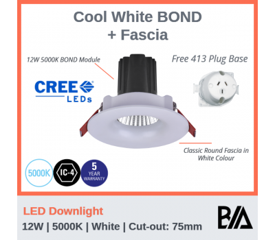 BOND Kit - 12W | LED Downlight | 5000K | White | 75mm Co