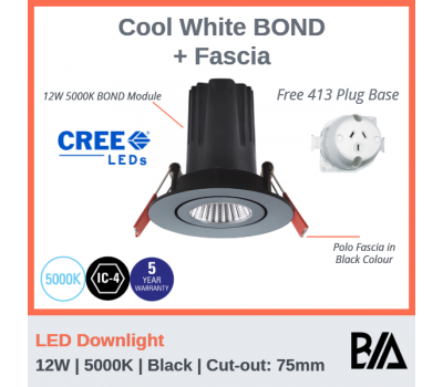 BOND Kit - 12W | LED Downlight | 5000K | Black | 75mm Co