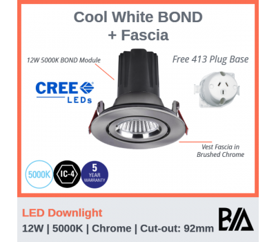 BOND Kit - 12W | LED Downlight | 5000K | Chrome | 92mm Co