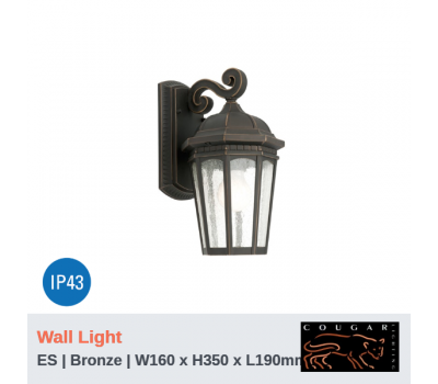 CAMBRIDGE - 1Lt | Wall Light | Bronze | ES Globe (Not Included)