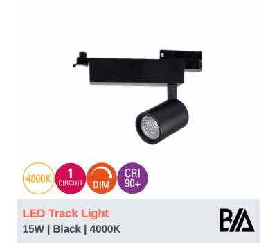 FERO - 15W | LED Track Light | 1 Circuit | Black | 4000K