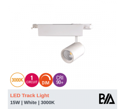 FERO - 15W | LED Track Light | 1 Circuit | White | 3000K