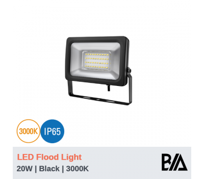 FORT - 20W | LED Flood Light | Black | 3000K