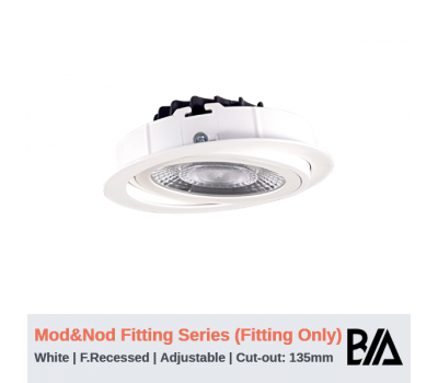 Flat Recessed Fixture - Adjustable   MOD & NOD Fitting Series   White   135mm Co