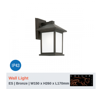 PLYMOUTH - 1Lt | Wall Light | Bronze | ES Globe (Not Included)