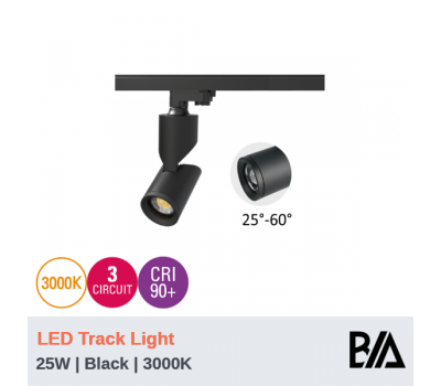 SCOPE - 25W | LED Track Light | 3000K | Black | 3 Circuit