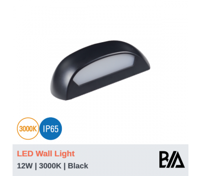 SHELL -  12W | LED Wall Light | Black | 3000K