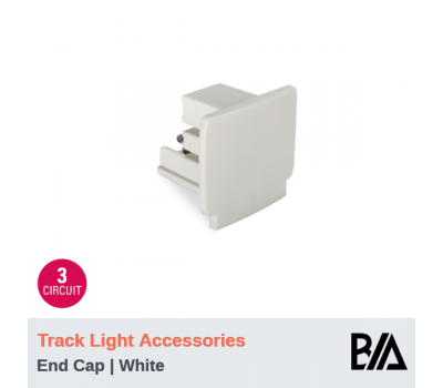 End Cap - White | Track Light Accessories | 3 Circuit