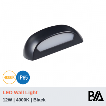 SHELL - 12W | LED Wall Light | Black | 4000K