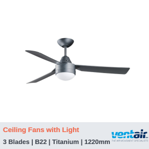 "BULLET - 3 Blades | Ceiling Fans with Light | Titanium | 1220mm (48"")"