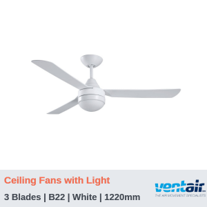 "BULLET - 3 Blades | Ceiling Fans with Light | White | 1220mm (48"")"